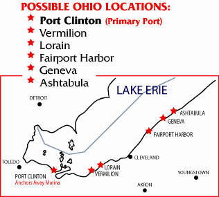 Possible fishing charter locations: Port Clinton, OH, and Vermilion, Ohio